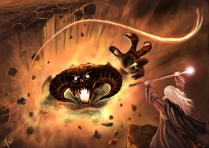 LOTR___Gandalf_and_the_Balrog_by_Evolvana